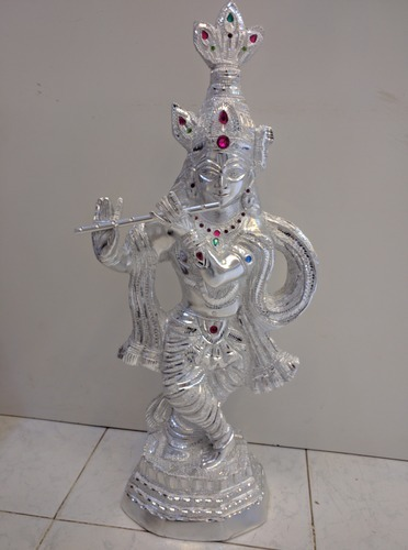 White Metal Shri Krishna Statue क ष ण म र त In