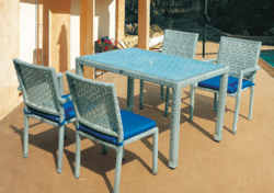 Flowery Style Outdoor Wicker Dining Table Set