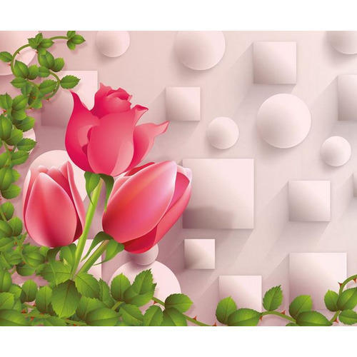 Walls And Murals Floral 3d Wallpaper With Red Rose Flower For Walls