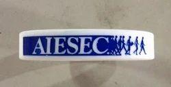 White / Blue Unisex Promotional Silicon Wristbands