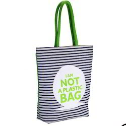 Black, Green Printed Canvas Tote Bags, Size: 42x38x12 Cm