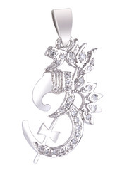 925 Sterling Silver Om Trishul Pendant