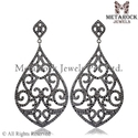 Pave Setting Sterling Silver Diamond Earring