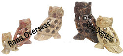 Soapstone Undercut Decorative Owl Set