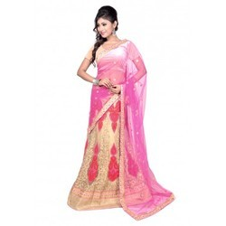 Fancy Pink Embroidered Net Lehenga Saree
