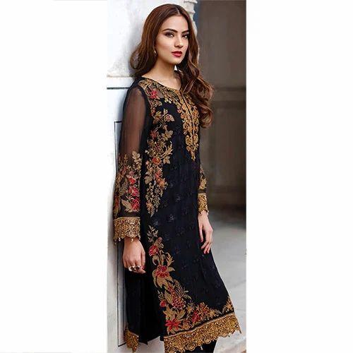 74726d4c42 Black Cotton Ladies Designer Suit, Rs 3500 /piece, Maryam Collection ...