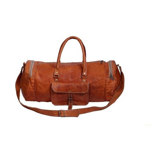 6915216070d6 Brown Plain Leather Round Duffle Bag