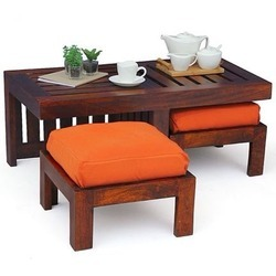 Wooden And Steel Center Table   Center Table With Top Glass Imported  Manufacturer From Mumbai