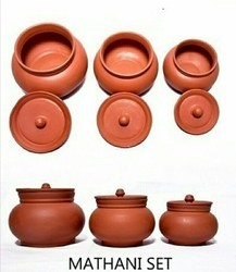Brown Round Clay Cooking Pots, Size: 3 Size Hafe Litter 1litter 2litter