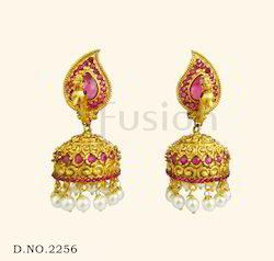Ruby Pearl Designer Jhumka Earring