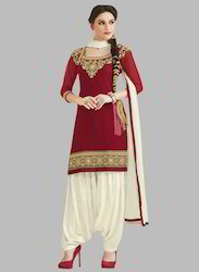 KVS Fab Red And Off White Unstitched Suits