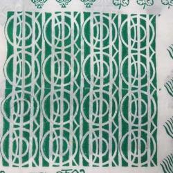 Green & White Printed Voile