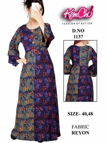 7ce9c5d5b2d KEMCHO Ladies Printed Long Gown
