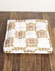 Cotton Hand Block Print Tufted Square Seating Cushion Pillow