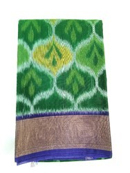 South silk cotton Party Wear Ikkat Silk Cotton Sarees, Hand Made, 6 m (with blouse piece)