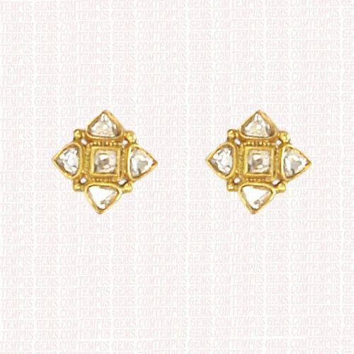 22k Gold Polki Diamond Earring Set