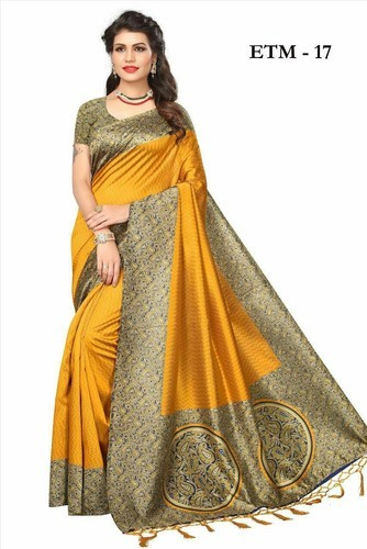 553b98da5dd Chiffon And Silk Casual Wear And Formal Wear Kalamkari Mysore Silk Saree