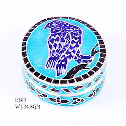Silver Sterling Enamel Box, Size/Dimension: 2.2 Inches