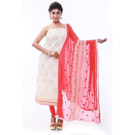 ad7bf4863b Cotton Chanderi White Unstitched Salwar Suit, Rs 3000 /piece | ID ...