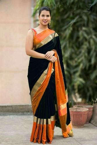 79459ad8f573e5 Shreeji Black Orange Cotton Silk Saree, रेशमी सूती ...