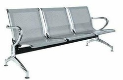 Silver, Chrome Coarex Three Seater Waiting Chair