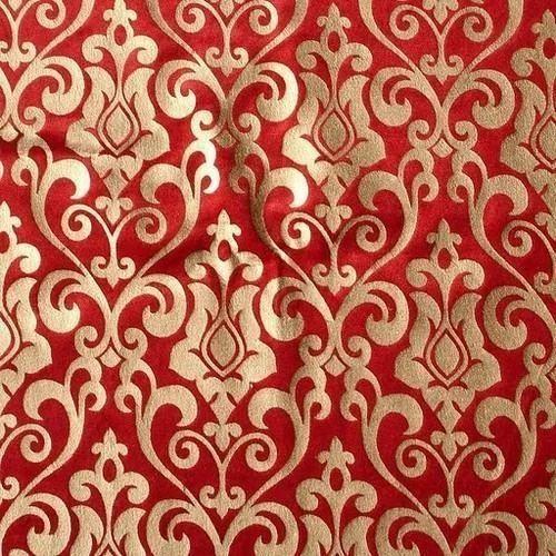 Red Gold Printed Fabric Rs 48 Meter Shree Mahalaxmi