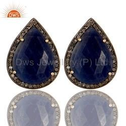 Pear Cut Blue Sapphire Pave Set Diamond Stud Wedding Earrings Jewelry Supplier