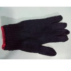 Navy Blue Cotton Knitted Hand Gloves