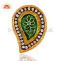 925 Silver Handmade Kundan Meenakari Ring