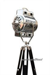 Nautical Chrome Spot Search Light Floor Lamp - Tripod Spot Light