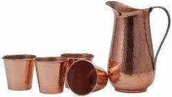 Copper Set Jug & Glass