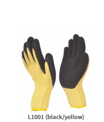 Knitted Gloves with Crinkled Latex Coating