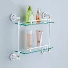 Acrylic Rectangular White Brass Bathroom Shelf, Size: Standard