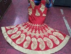 Red Embroidered  Salwar