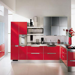 Red Stainless Steel Modular Kitchen