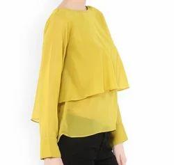 Casual VVINE Women Mustard Solid Layetd Top