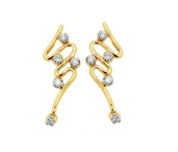 Sheetal Impex 0.20Tcw SI/FG Color Real Natural Diamonds Stud 14Kt Yellow Gold Hoop / Bali Earring