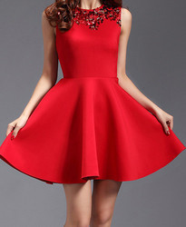 Ladies Red Scuba Designer Dress