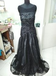 Grey Black Party Wear Western Gown