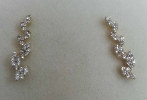 Anmol Exports 925 Sterling Silver 925 Diamond Silver Earrings