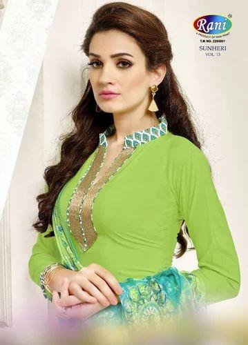 74e808fa08 Party Wear Printed Sunheri Patiyala Vol-13 Crepe Dress Materials Salwar  Kameez
