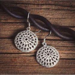 Silver Jali Disc Earrings