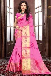 Party Wear Border Designed Sarees, 5.5 M (separate Blouse Piece)