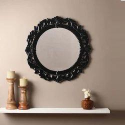 Small Black Glass Round Mirror