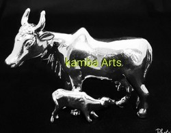 Silver Kamdhenu Cow Idol