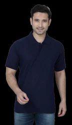 Navy Blue Collar Plain T Shirts