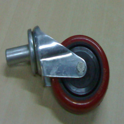 Red Stainless Steel Pipe Insertion Type Caster Wheel