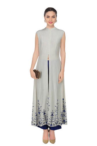 66c226d72ee Cotton Linen Casual Fabron White Embroidered Long Kurta For Women ...