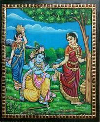 Radha Krishna Leela Tanjore Painting