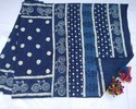Dabu Indigo Cotton Saree